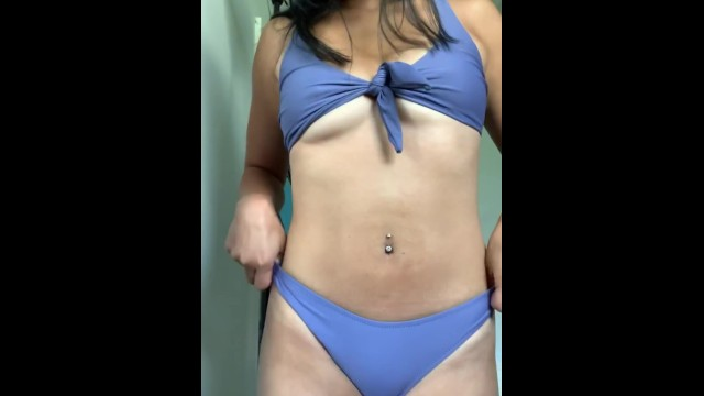 Bikini bathing suit plus size Its a great day to tan - front tie bikini tease from tight asian college babe in her room