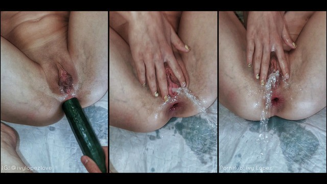 Anal fun with cucumber Cum and pissed after a big cucumber in the anal / anal, hardcore, orgasm, pissing