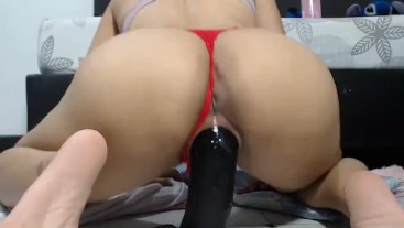 big ass latina riding Huge monster dildo. free for premium usars