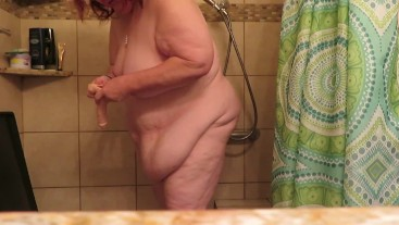 PISS though my pants and my under pants then nude in shower trying to fuck my toy