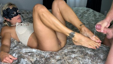 Amateur Fit Blonde Pigtails has Real Shaking Orgasm and gets Cum on her Feet!