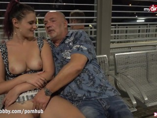 MyDirtyHobby - Step dad fucks daughter at a public train station while people watch