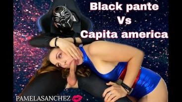 Cosplay captain america vs black panther Hot Curvy Blonde Babe pamela sanchez Twerks and Cum... deep