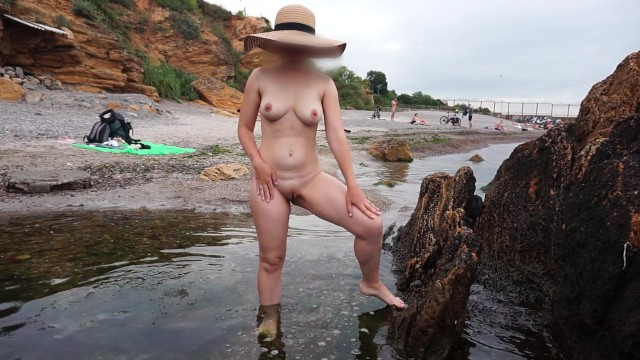 Moose peeing in pool Pee on the beach - nude girl pissing on public beach - nudist extreme public piss standing