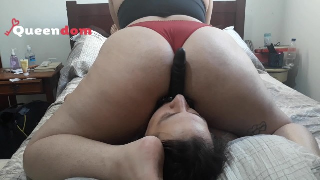 Ass smothers Cuckold training 3 - riding a face dildo and smothering him