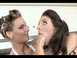Angela White x Phoenix Marie Busty Lesbian Pinups Fuck Each Other