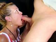 Truly Smoking Blowjob for Big Dick Biker and Swallows