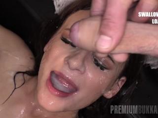 PremiumBukkake – Kate Rich swallowing 85 loads in bukkake