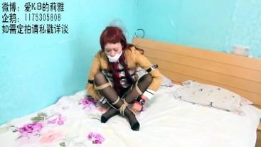【莉雅的紧缚实验】紧缚、手铐、丝袜堵嘴 牧濑红莉栖 cosplay