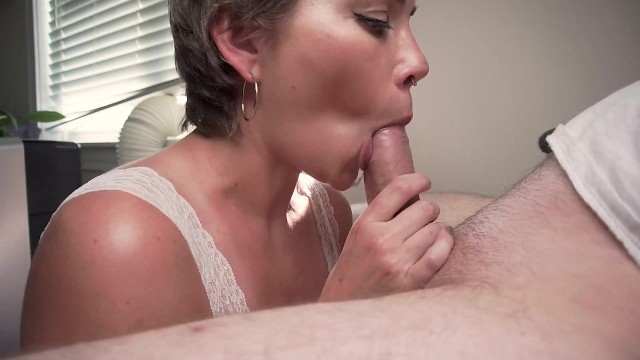 Tongue studs blow job I love my stepbrothers cum in my mouth