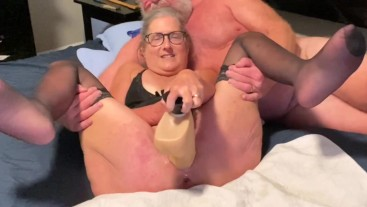 Mature Milf Works Her Pussy With Big Dildo Three Squirting Orgasms Husbands Gives Facial