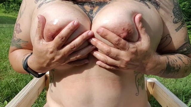 Mature amateur nipple exposed Thick 45yo curvy tattooed milf plays w big oiled wet natural tits large nipples