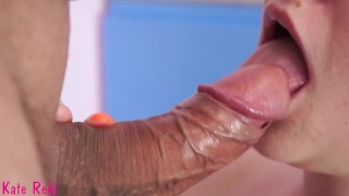 Screen Capture of Video Titled: Cum in my mouth. Gentle, slow blowjob close-up. Pulsate cock and creampie