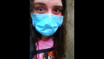 Retail Store Public Restroom Pandemic Face Mask Quarantine Cute SCARED Girl Standing up to PEE PISS