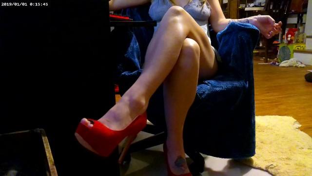 Bad ass cross tattoo High heels short skirt leg crossing pussy flash