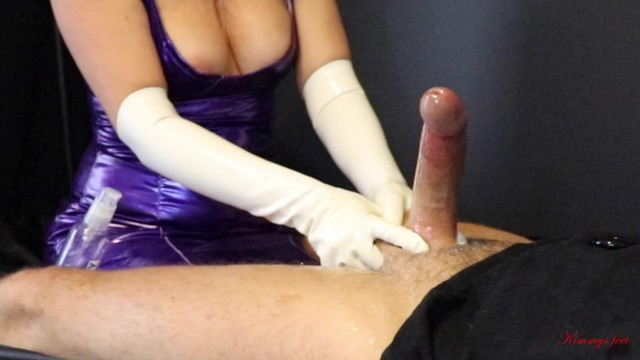 Latex free gloves in Femdom cock milking ruined orgasm in white latex gloves, drained him till the last drop of cum