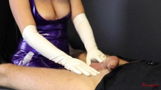 Femdom cock milking ruined orgasm in white latex gloves, drained him till the last drop of cum