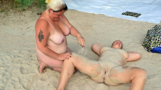 Fat lesbians play in the sand pt1