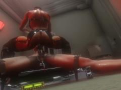 3D SFM VR Huge tits latex mistress electro stimulation precum riding and milking
