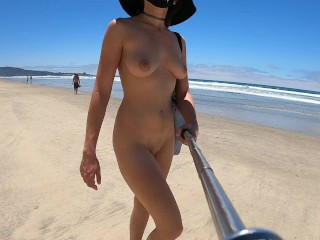 Teaser - Nude Selfie Walk on the Beach!