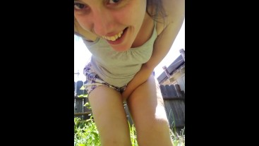 Pissing Cute Hairy White Girl Pees Fertilizing Outdoors Outside Sunny Summer Herb Vegetable Garden