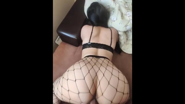 Long hair girl naked White girl with long hair using fishnet socks fucking on the couch