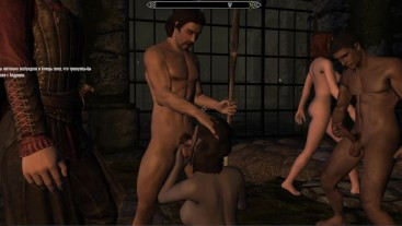 Breast hot blowjob. The guy finished on the big breasts of the girl. Porno Game 3d, Skarim porno