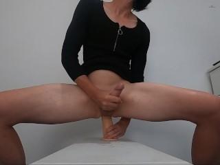 Trans fucking dildo cums anal orgasm