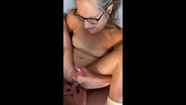 Mature Milf fingers dildo fucks multiple squirts takes a facial from hubby POV