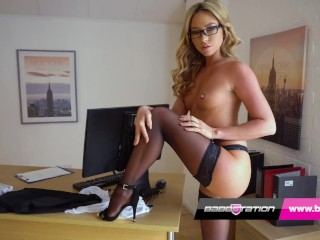 Sexy secretary striptease with British pornstar Natalia Forrest