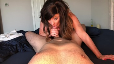 Step sister woken up with her toy and finger in ass before sucking cock and getting facial in return