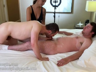 Gf makes him suck random dick in hotel
