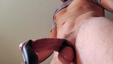 Thick cock filthy no hands cum from vibrator