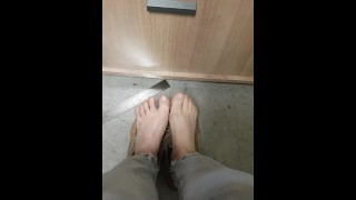 Playing With My Small Stinky Smelly Feet At Work - Sweaty No Socks