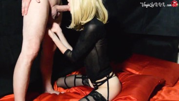 Teen in Stockings Sensual Sucking Dick after Work - Amateur