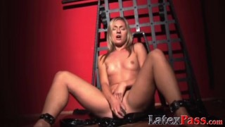 Lusty dyke tied up for erotic torture before masturbating