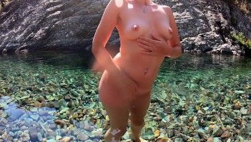 Young babe loves to swim naked in public