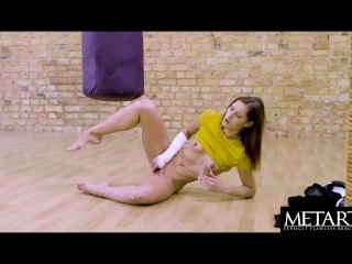 Watch cute Mila Azul squeeze her big tits while she masturbates