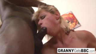 Dirty blonde mature gets her ass filled with black cock!