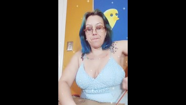 Pornstar's YouTube Review of Blue Hair Space Buns Boob Tease Almost Nip Slip