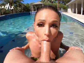 POV fucking under water w/ facial