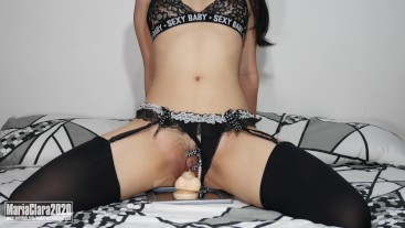 MariaClara Asian Petite Babe Riding Dildo in Black Lingerie Stocking - Sexy Baby