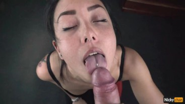 He Uses My Mouth and Cums on My Eye Hot Asian Blowjob