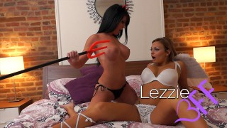 Lezzie BFF - Big Fake Titted Bimbos Toy Play Fuck