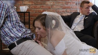 HUNT4K Cute teen bride gets fucked for cash in front of her groom