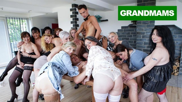Horny orgy sex Biggest granny fuck fest part 2
