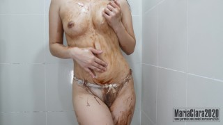 MariaClara Asian Teen Performing Chocolate Syrup Boob and Body Massage with Yogurt