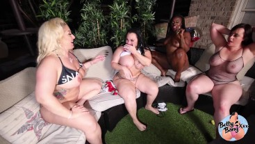 Big Booty Betty Bang and Her Friends Fuck Poolside at Night