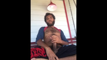 PUBLIC SWING CUM SHOT HAIRY STUD ROCK MERCURY JERKS THICK COCK ON OUTDOOR PORCH CUMMING ON PUBES