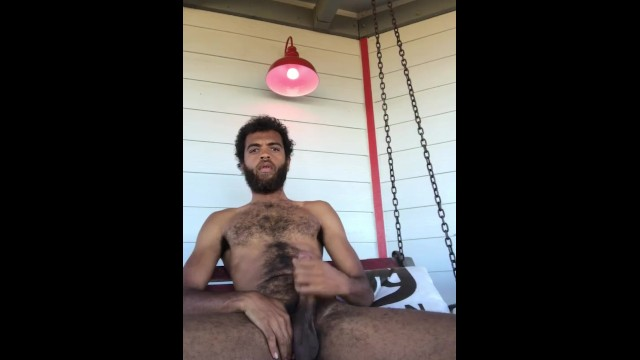 Sexy gay big cocks Public sexy hairy stud rock mercury plays with huge cock and thick cock on savage ranch porch swing